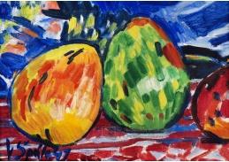 D-10051 Václav Špála - Jedna hruška zelená, jedna žlutočervená a půl jablka červeného