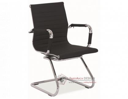 Kancelářská židle Q-123 chrom / ekokůže černá
