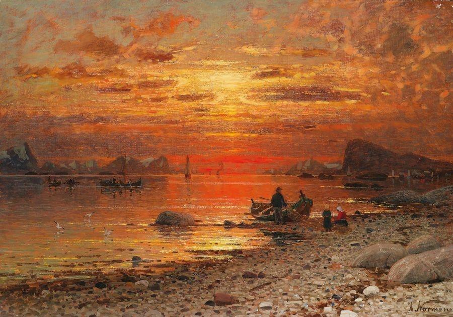 Slavné obrazy XIV-505 Adelsteen Normann - Pobřeží ve večerním světle