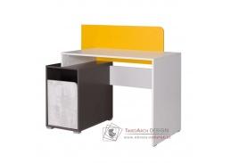 MATEL B08, počítačový stůl, bílá /šedý grafit /enigma /žlutá