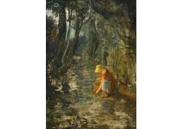 Slavné obrazy XVII-84 Francis Danby - Dívka sbírající lesní plody