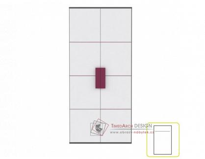 Šatní skříň LOBETE S82 šedá / bílá / fialová
