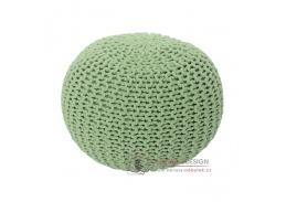 GOBI 1, pletený taburet, světle zelená bavlna
