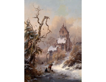 Slavné obrazy XVII-177 Frederik Marinus Krusemann - Zimní krajina se sběrači klestí