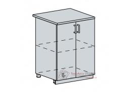 CHARLIZE, dolní skříňka 2-dveřová 60D, bílá / bílé dřevo
