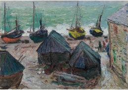 D-7074 Claude Monet - Lodě na pláži v Étretats