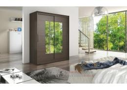 WESSTA III, šatní skříň s posuvnými dveřmi 150cm, čokoláda / zrcadla