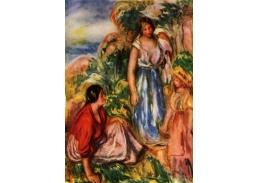 R14-108 Pierre-Auguste Renoir - Dvě ženy a mladá dívka na pozadí krajiny