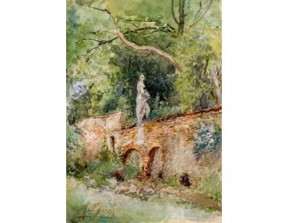 Krásné obrazy II-387 Marie Egner - Zeď se sochou v Mödlingu