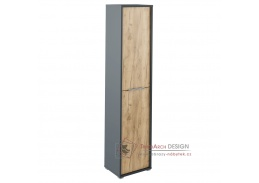 RIOMA 06, vysoká policová skříň, grafit / dub artisan