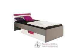 LOBETE 09, postel 90x200cm, šedá / bílá / fialová