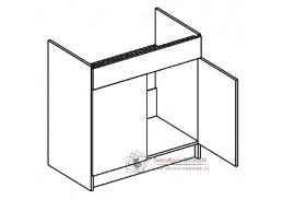 MORENO, dolní skříňka 2-dveřová pod dřez D80ZL, bílá / dub sonoma / skořicová akácie