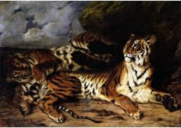 VEF 01 Eugene Ferdinand Victor Delacroix - Studie dvou tygrů