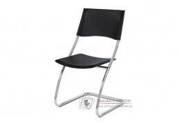 B161 BK, jídelní židle, chrom / ekokůže černá