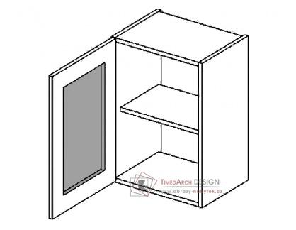 Horní vitrína jednodvéřová s mraženým sklem W40WLMR PREMIUM de LUX olše - levá