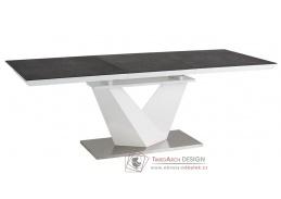 ALARAS II 160, jídelní stůl rozkládací, leštěná ocel / bílá / černé sklo