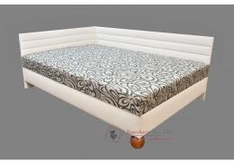 ELITE, čalouněná postel 140x200cm - levá, ekokůže 202 bílá / látka 100 vzor