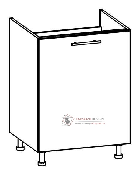 TIFFANY, kuchyňská dolní dřezová skříňka T23/D60Z bílá / bílý lesk