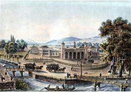 Slavné obrazy V-102 Johann Baptist Isenring - Nádraží v Curychu roku 1847