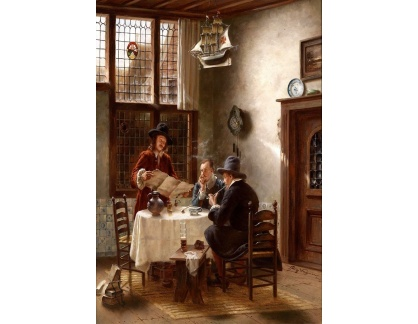 Slavné obrazy XVII-199 Fritz Wagner - U kulatého stolu