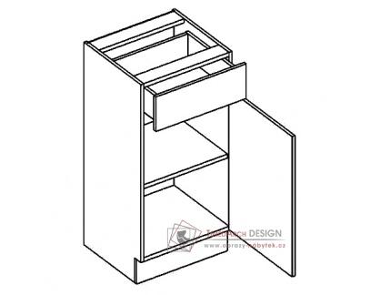 MORENO, dolní skříňka se zásuvkou D40/S1, bílá / dub sonoma / skořicová akácie