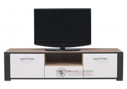 NAOMI NA 01, televizní stolek, dub sonoma / grafit / bílý lesk