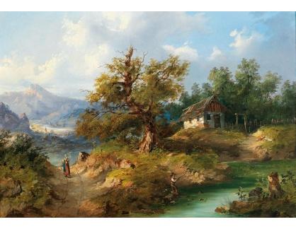 D-5842 Dominik Schufried - Horská krajina s rybáři na břehu potoka