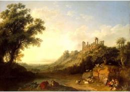 Slavné obrazy V-110 Jacob Philipp Hackert - Krajina se zříceninou chrámu na Sicílii