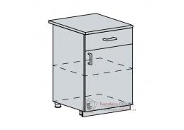PRAGA, dolní skříňka 1-dveřová se zásuvkou 60D1S, bílá / wenge