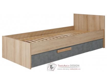 AYGO AG12, postel s ÚP 90x200cm, buk pískový / antracit