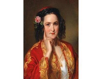 Slavné obrazy I-DDSO-140 Georg Decker - Portrét mladé ženy v tradičním řeckém kroji