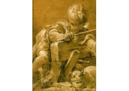 Slavné obrazy XVII-109 Francois Boucher - Dítě s kočkou