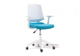 KA-R202 BLUE, kancelářská židle, plast bílý / látka modrá