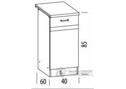 ELIZA, dolní skříňka 1-dveřová EZ10/D40, výběr provedení