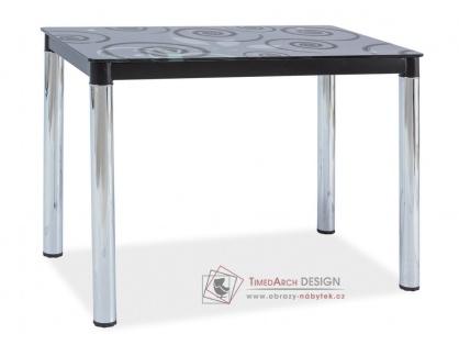 DAMAR II, 100x60, jídelní stůl, chrom / černé sklo