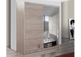 Šatní skříň s posuvnými dveřmi 150cm VISTA dub sonoma / zrcadlo