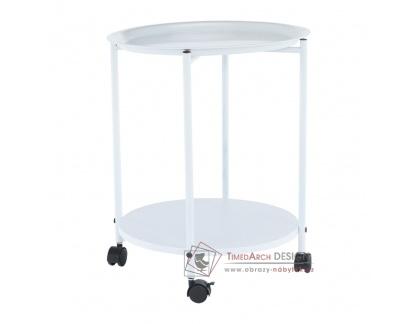 DERIN, příruční stolek na kolečkách, bílá