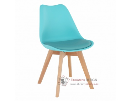 BALI 2 NEW, jídelní židle, buk / plast + ekokůže mentolová