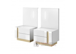 CITY, noční stolek - sada 2ks, bílá / dub grandson / bílý lesk