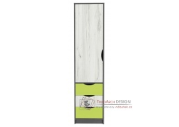 DISNEY, šatní skříň 1-dveřová 1D, dub kraft bílý / šedý grafit / imeta