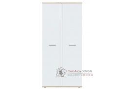 DOMINO, šatní skříň 2-dveřová, dub sonoma / bílá