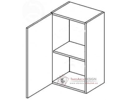 MERLIN, horní skříňka 1-dvéřová W40L - levá, šedá / bílý lesk