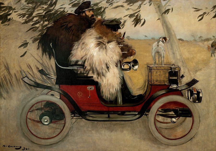 Slavné obrazy XIV-48 Ramon Casas - Ramon Casas a Pere Romeu v automobilu