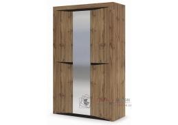 PAOLA, šatní skříň 3-dveřová 138cm 3D, dub kraft zlatý / wenge  / zrcadlo