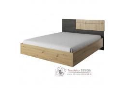 BAFRA, postel 160x200cm, dub artisan / černá borovice norská
