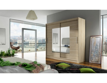BEGGA VII, šatní skříň s posuvnými dveřmi 180cm, dub sonoma / zrcadla