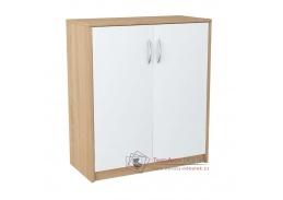 AGNESA 1, komoda 2-dveřová, dub sonoma / bílá