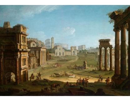 Slavné obrazy XVI-228 Antonio Joli - Pohled na Campo Vaccino v Římě