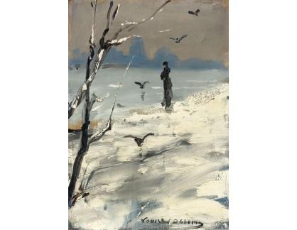 Krásné obrazy II-338 Louise Abbéma - Sarah Bernhardt na procházce v zimě