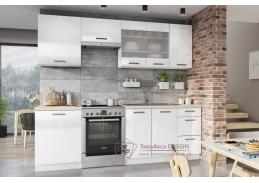 BURNS, kuchyně 240cm, bílá / bílý akryl